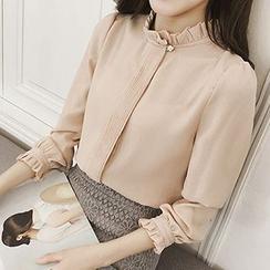 YOYO - 荷葉褶雪紡襯衫