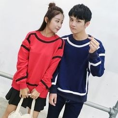 Azure - Couple Matching Color Block Pullover