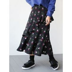 STYLEBYYAM - Floral Patterned Layered Long Skirt