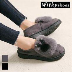 Wifky - Rabbit Faux-Fur Patch Mules