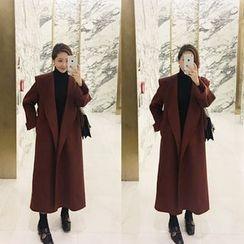 STYLEBYYAM - Wool Blend Shawl-Collar Long Coat