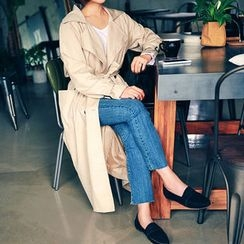 HOTPING - Notched-Lapel Double-Breasted Trench Coat With Belt
