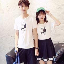 Azure - Couple Matching Cartoon Print Short-Sleeve T-Shirt