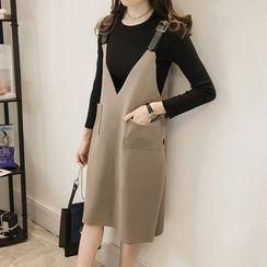 Little V - Set: 3/4 Sleeve Top + Buckled Pinafore Dress