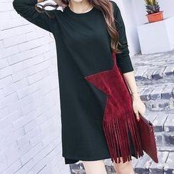 Carabecca - Star Applique Fringed Long Sleeve T-Shirt Dress