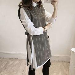 Little V - 假兩件長袖條紋毛呢連衣裙