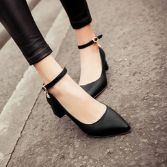 YOUIN - Chunky-Heel Ankle-Strap Pumps