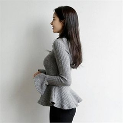 LIPHOP - Turtle-Neck Peplum Ribbed Knit Top