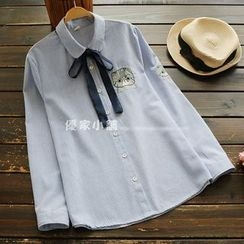 YOYO - Long-Sleeve Embroidery Pinstripe Shirt