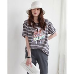 NIPONJJUYA - Print Stripe Cotton T-Shirt