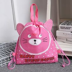 Aoba - Cat Print Drawstring Shopper Bag