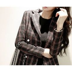 Marlangrouge - Double-Breasted Check Coat with Scarf