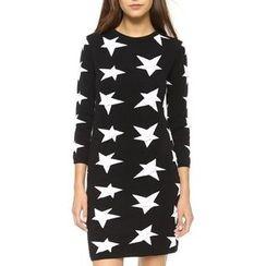 JOYIST - Long-Sleeve Star-Pattern Knit Dress