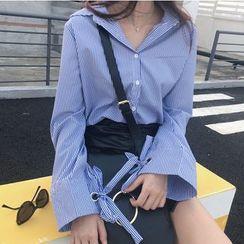 Shopherd - 条纹喇叭袖衬衫