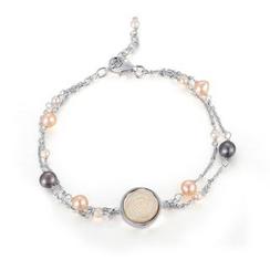 MBLife.com - 925 純銀「天使白貝母玫瑰」淡水珠手鏈