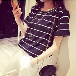 Maruko - Cuffed Short-Sleeve Striped T-Shirt