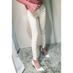 ATTYSTORY - Cutaway-Hem Skinny Pants