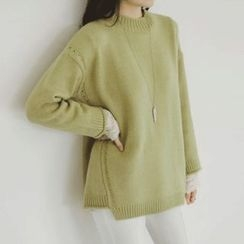 JUSTONE - Asymmetric-Hem Pointelle-Knit Sweater