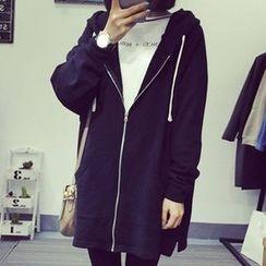 Lokin - Plain Hooded Long Zip Jacket