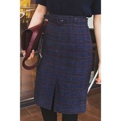 migunstyle - Slit-Front Checked Skirt With Belt