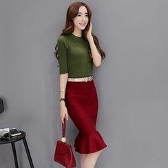 Romantica - Set: Rib-Knit Top + Ruffled Skirt