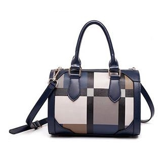 MBaoBao - Contrast-Trim Plaid Boston Bag
