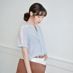 JUSTONE - Lace-Panel Open-Placket Stripe Top