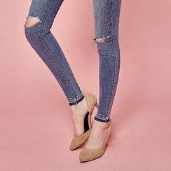 chuu - Slit-Knee Washed Skinny -5kg Jeans
