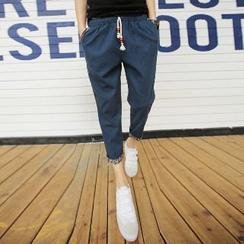 Aozora - Drawstring Cropped Tapered Pants