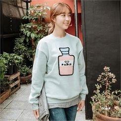 JOAMOM - Drop-Shoulder Appliqué T-Shirt