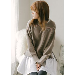 GOROKE - Dip-Back Flower-Embroidered Sweatshirt