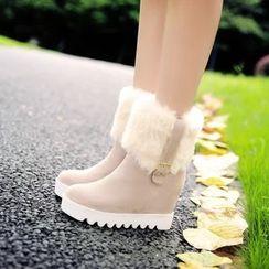 Pastel Pairs - Faux Fur Trim Short Boots