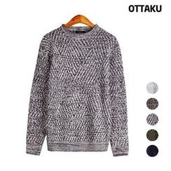 Seoul Homme - Round-Neck Patterned Sweater
