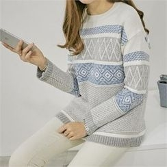 PIPPIN - Crew-Neck Patterned Wool Blend Sweater