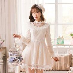 Candy Rain - Long-Sleeve Knit A-line Dress