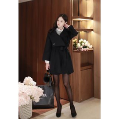 MyFiona - Tie-Waist Wrap-Front Wool Blend Coat