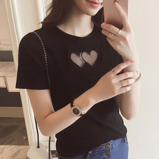 Oaksa - Mesh Heart Appliqué Short-Sleeve T-Shirt