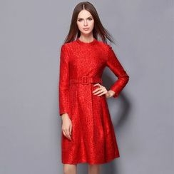 Cherry Dress - Floral Long-Sleeve Dress with Belt