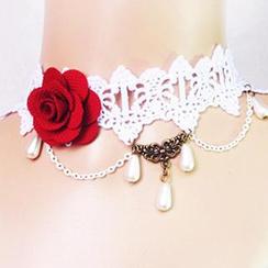 Fit-to-Kill - 玫瑰花时尚蕾丝项链