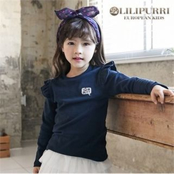 LILIPURRI - Girls Frill-Trim Lettering Top