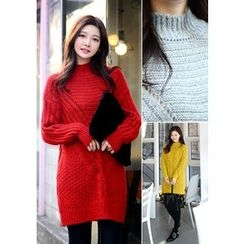DEEPNY - Monk-Neck Pointelle Long Knit Sweater