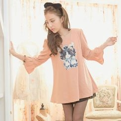 Tokyo Fashion - 3/4-Sleeve Appliqué A-Line Tunic