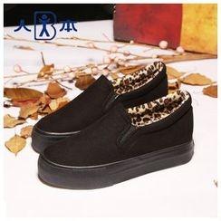 人本 - 厚底豹纹便鞋