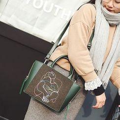 Albatross - Embroidered Faux Leather Shoulder Bag