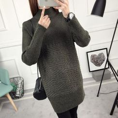 anzoveve - Mock Neck Long Sweater