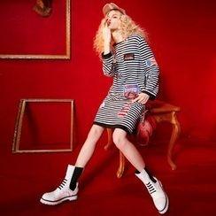 ELF SACK - Long-Sleeve Striped Hooded Applique Dress