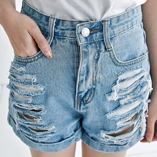 BAIMOMO - Distressed Denim Shorts
