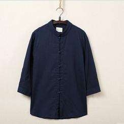 Mrlin - Tab-Sleeve Mandarin Collar Shirt