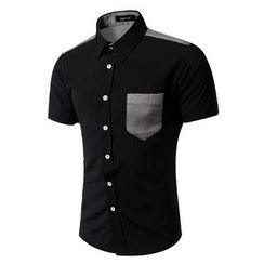 Bay Go Mall - Houndstooth Panel Short-Sleeve Shirt