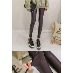 PPGIRL - Faux-Leather Fleece-Lined Leggings